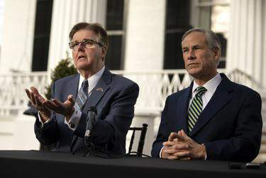 Lt. Gov. Dan Patrick, left, plans to attend the Republican Party's national 2020 convention in place of Gov. Greg Abbott, right, who will remain in Texas to deal with the ongoing coronavirus pandemic. (Miguel Gutierrez Jr. / The Texas Tribune)