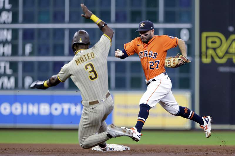 San Diego Padres' Jorge Mateo (3) is out as second base as Houston Astros second baseman Jose Altuve (27) outruns him to the base during the third inning of a baseball game Friday, May 28, 2021, in Houston. (AP Photo/Michael Wyke)