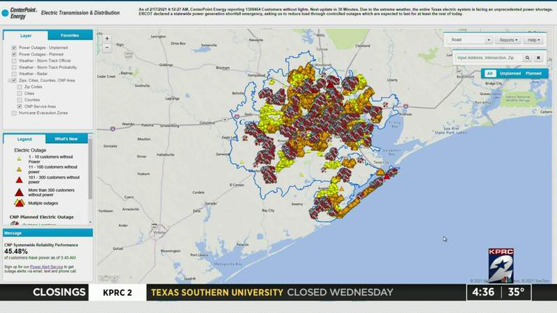 1.3 million CenterPoint customers without power