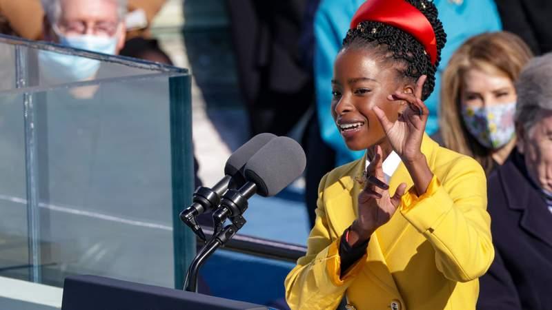 Youth Poet Laureate Amanda Gorman speaks at the inauguration of U.S. President Joe Biden. Photo by Alex Wong.