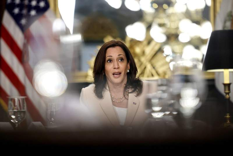 U.S. Vice President Kamala Harris at an event marking the anniversary of the Deferred Action for Childhood Arrivals (DACA) program at the Executive Office building in Washington, D.C.,  June 15, 2021.