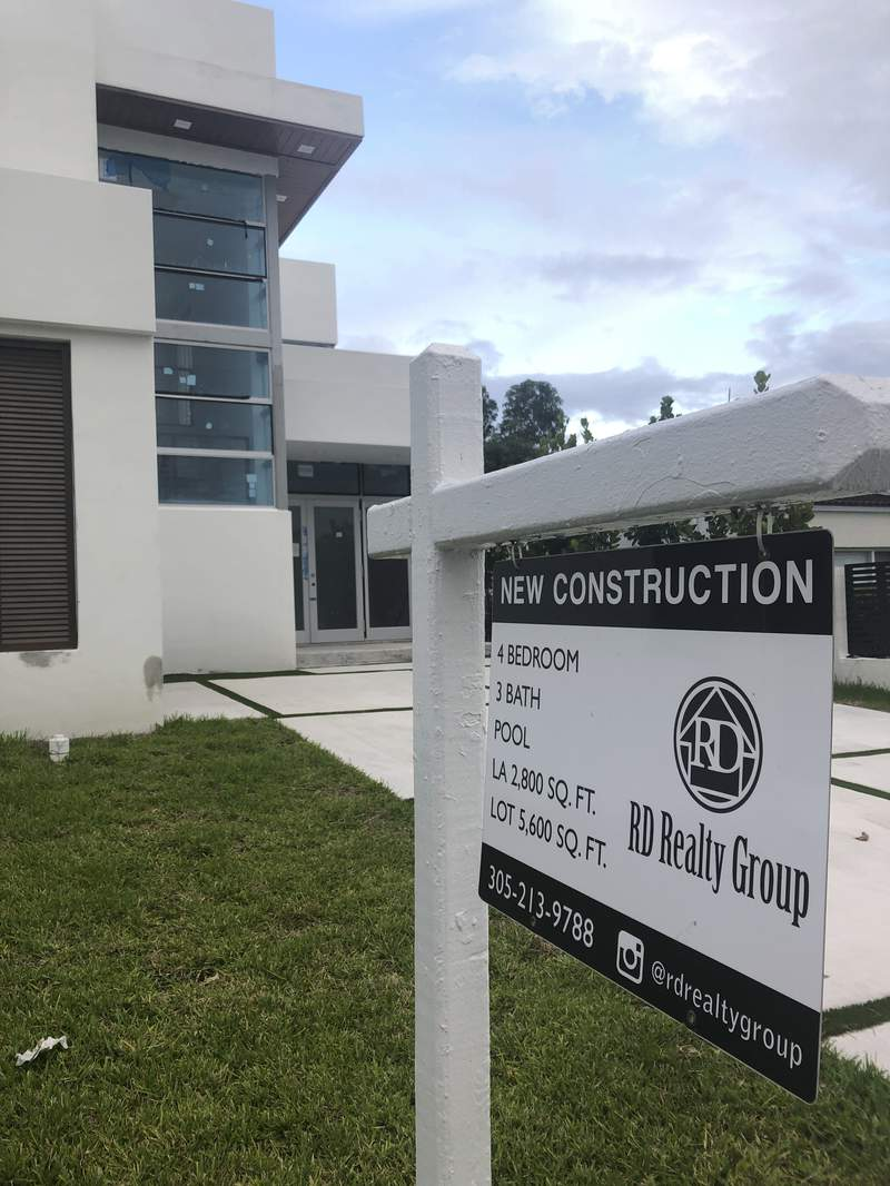 A newly constructed home is shown for sale, Thursday, Oct. 15, 2020, in Surfside, Fla. U.S. home prices posted a robust gain in August  another sign that the American housing market remains strong despite economic fallout from the coronavirus pandemic. (AP Photo/Wilfredo Lee)