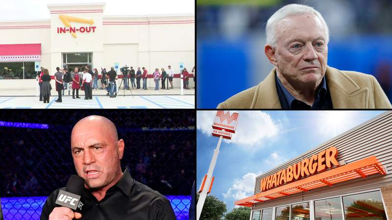 Top Left: In-N-Out Burger, Top Right: Dallas Cowboys owner and general manager Jerry Jones, Bottom Left: Joe Rogan, Bottom Right: Whataburger