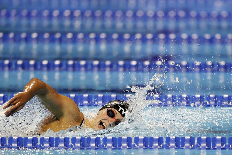 Katie Ledecky competes in the Women's 800m freestyle final during Day Seven of the 2021 U.S. Olympic Team Swimming Trials at CHI Health Center on June 19, 2021 in Omaha, Nebraska. (Photo by Maddie Meyer/Getty Images)
