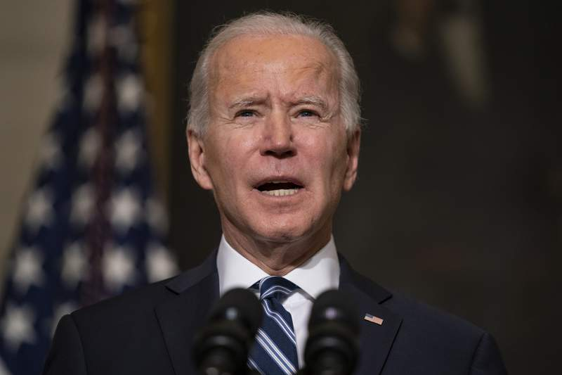 In this Jan. 27, 2021, photo, President Joe Biden speaks in the State Dining Room of the White House in Washington. Bidens $1.9 trillion COVID-19 relief package presents a first political test. More than a sweeping rescue plan, it's a test of the strength of his new administration, of Democratic control of Congress and of the role of Republicans in a post-Trump political landscape. (AP Photo/Evan Vucci)