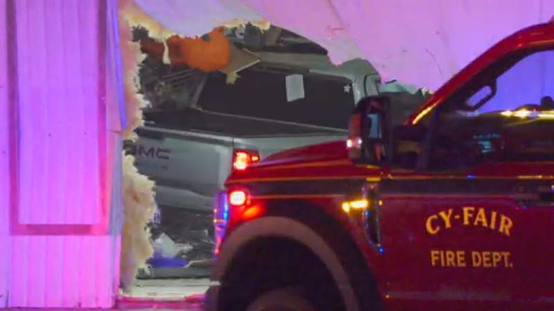 A man was flown via Life Flight to a hospital after his vehicle crashed into a Halloween store early Saturday morning in northwest Harris County, according to the Cy-Fair Fire Department.