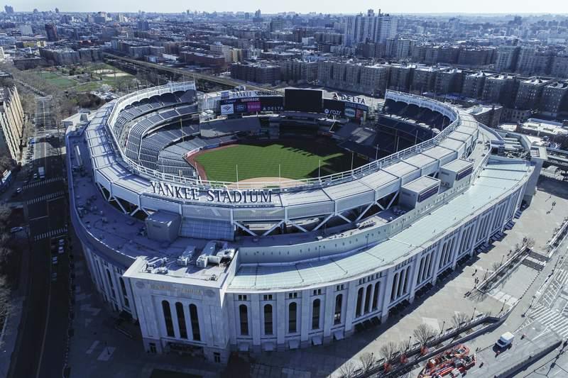 Vista area del Yankee Stadium en Nueva York, el jueves 26 de marzo de 2020. (John Woike/Samara Media va AP)