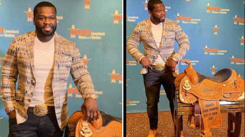 50 Cent with his prized award for Reserve Grand Champion during Saturday's 2021 Rodeo Uncorked