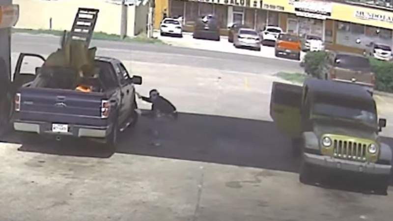 A screen still from a video released by Houston police of the theft in progress.