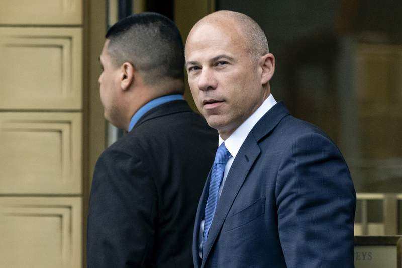 FILE - In this July 23, 2019, file photo, California attorney Michael Avenatti walks from a courthouse in New York, after facing charges. On Wednesday, June 9, 2021, Avenatti's lawyers said he should spend no more than six months behind bars after a jury concluded he tried to extort $25 million from Nike. (AP Photo/Craig Ruttle, File)