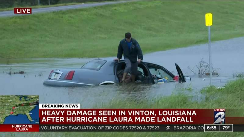 Man spotted on top of flooded vehicle in Vinton, Louisiana