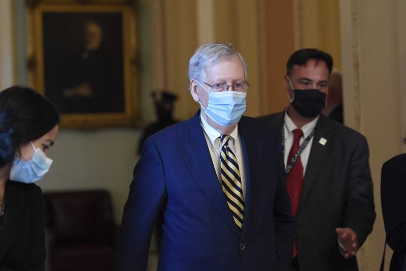 Senate Majority Leader Mitch McConnell of Ky., walks back to his office on Capitol Hill in Washington, Monday, Aug. 3, 2020. (AP Photo/Susan Walsh)