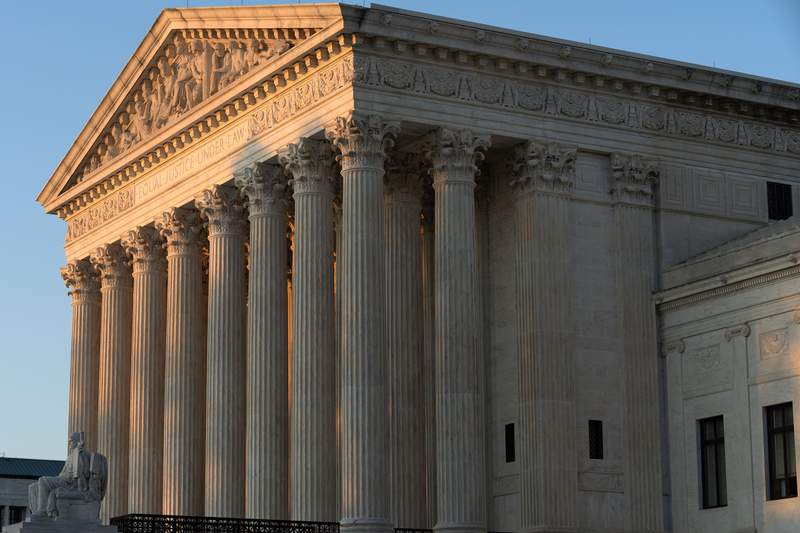 FILE - In this Aug. 2, 2021, file photo the U.S. Supreme Court is seen on Capitol Hill in Washington. (AP Photo/Jose Luis Magana, File)