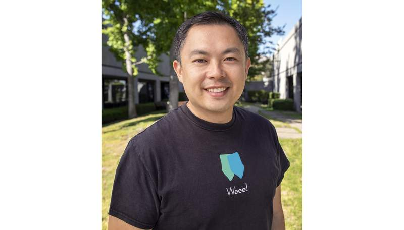 This undated photo provided by Weee Inc. shows Weee founder Larry Liu. Virtual grocery shopping became more popular during the pandemic lockdowns, and Weee, a startup focused on Asian grocery delivery, was no exception. (Weee via AP)