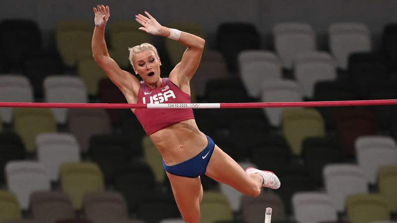 U.S.'s Katie Nageotte competes in the women's pole vault finals at the 2020 Tokyo Olympic Games.