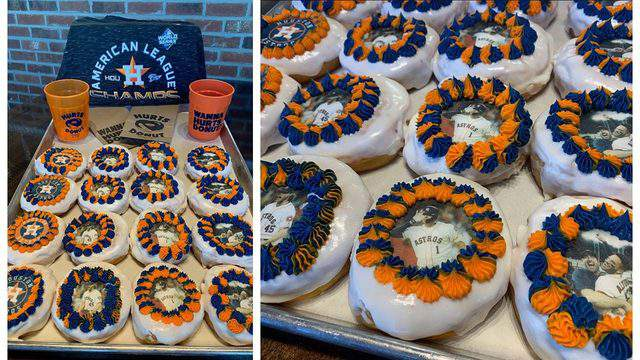 Hurts Donut shop in Katy is spreading the Astros cheer with Astros-themed donuts on the morning of Game 1 of the Word Series. More information here.