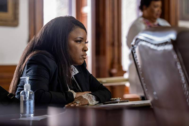 State Rep. Jasmine Crockett, D-Dallas, at her desk on the House floor on May 30, 2021.