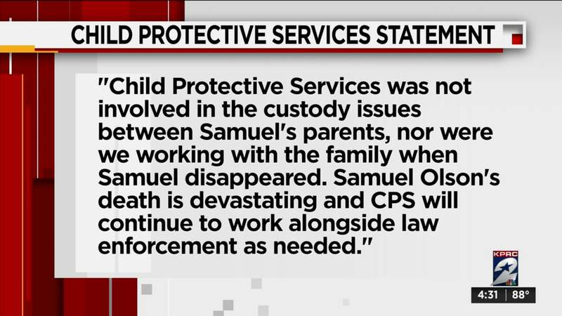 Child Protective Services says it was not involved in Samuel Olson case