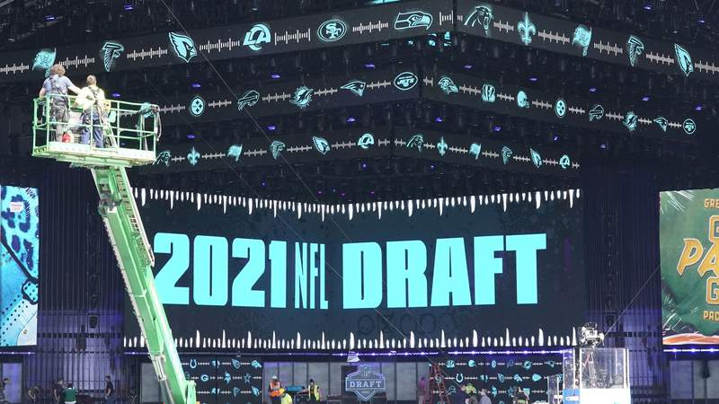 Final preps for the NFL Draft in Cleveland's FirstEnergy Stadium.