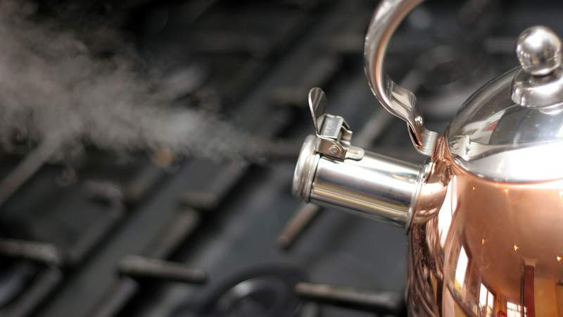 A kettle on a stove in this stock photo.