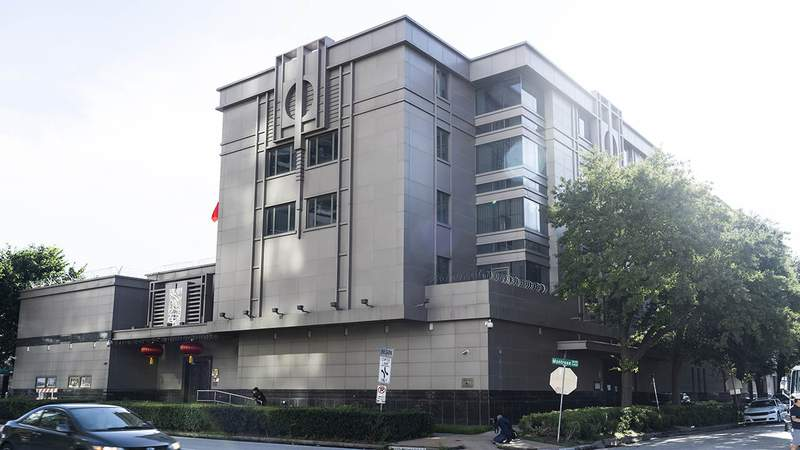 """HOUSTON, TX - JULY 22: The Chinese consulate building is seen after the United States ordered China to close its doors on July 22, 2020 in Houston, Texas.  According to the State Department, the U.S. government ordered the closure of the Chinese consulate """"in order to protect American intellectual property and Americans' private information.""""  (Photo by Go Nakamura/Getty Images)"""