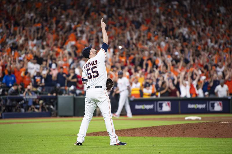 HOUSTON, TX - OCTOBER 15: Ryan Pressly #55 of the Houston Astros celebrates a victory in game one of the 2021 American League Championship Series against the Boston Red Sox at Minute Maid Park on October 15, 2021 in Houston, Texas. (Photo by Billie Weiss/Boston Red Sox/Getty Images)