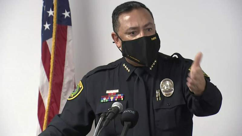 Houston police Chief Art Acevedo speaks during a news conference in Houston on Jan. 27, 2021.