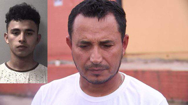 The mug shot of Carlos Eduardo Guevara (L) and his father, Jose Carlos Guevara.
