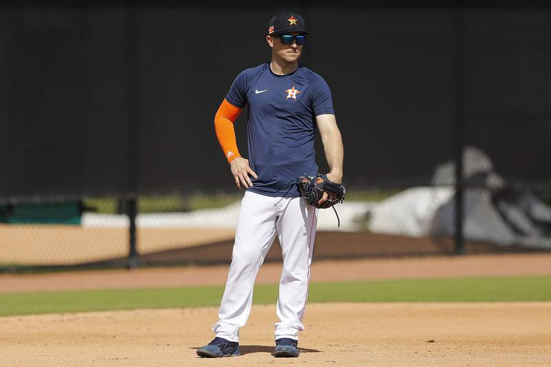 WEST PALM BEACH, FLORIDA - FEBRUARY 18:  Alex Bregman #2 of the Houston Astros looks on during a team workout at FITTEAM Ballpark of The Palm Beaches on February 18, 2020 in West Palm Beach, Florida. (Photo by Michael Reaves/Getty Images)