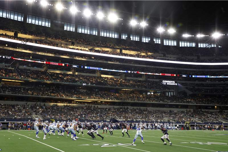 The Houston Texans play the Dallas Cowboys in the first half of a preseason NFL football game at AT&T Stadium in Arlington, Texas, Saturday, Aug. 21, 2021. (AP Photo/Michael Ainsworth)