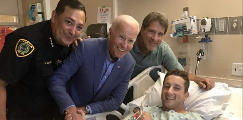 Joe Biden visits HPD Officer Taylor Roccaforte on Sept. 15, 2019 after he was shot by a suspect following the DNC presidential debate at Texas Southern University on Sept. 12, 2019.