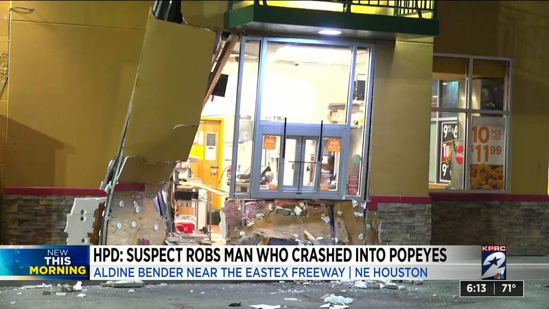 HPD: Suspect robs man who crashed into Popeyes in NE Houston