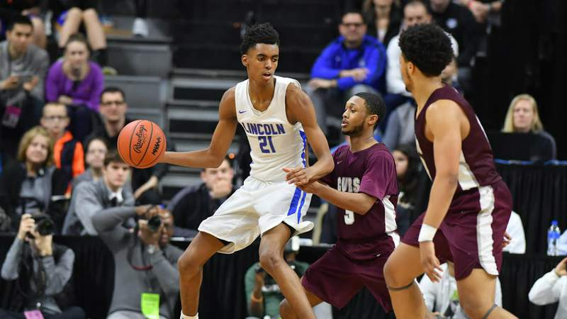 Emoni Bates posts up with the ball during the 2019 Division 1 state championship boys basketball game at Michigan State University. Contributed photo