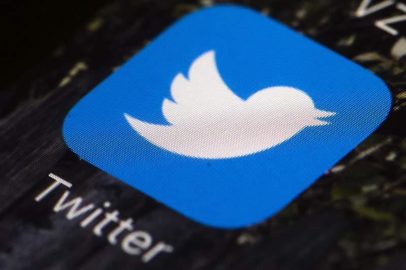 FILE - This April 26, 2017, file photo shows the Twitter app icon on a mobile phone in Philadelphia. (AP Photo/Matt Rourke, File)