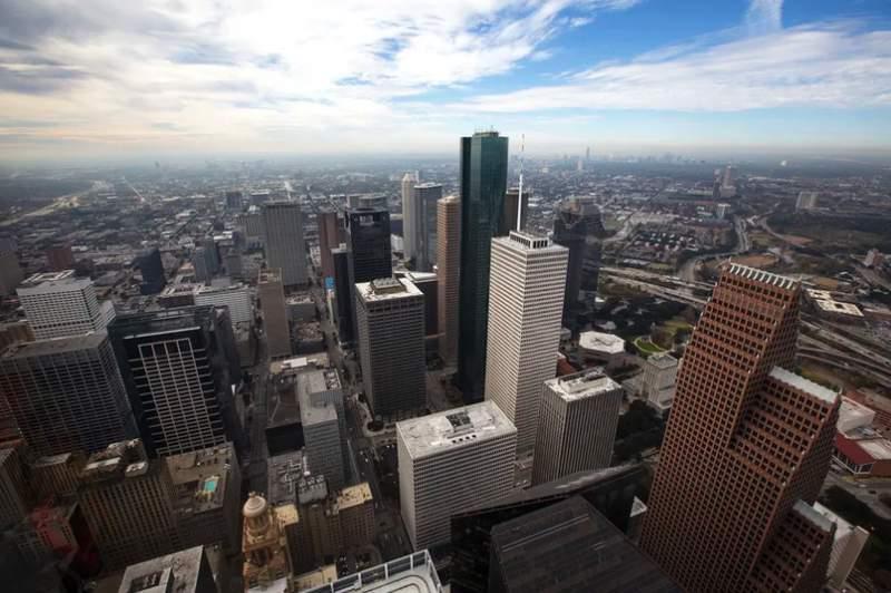 The Houston skyline on Dec. 17, 2018. Photo credit: Miguel Gutierrez Jr./The Texas Tribune