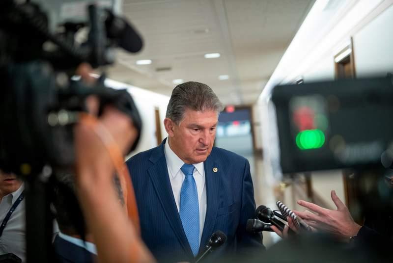 U.S. Senator Joe Manchin III, D-West Virginia, spoke with reporters at the Dirksen Senate Office Building in Washington, D.C., on June 24, 2021.
