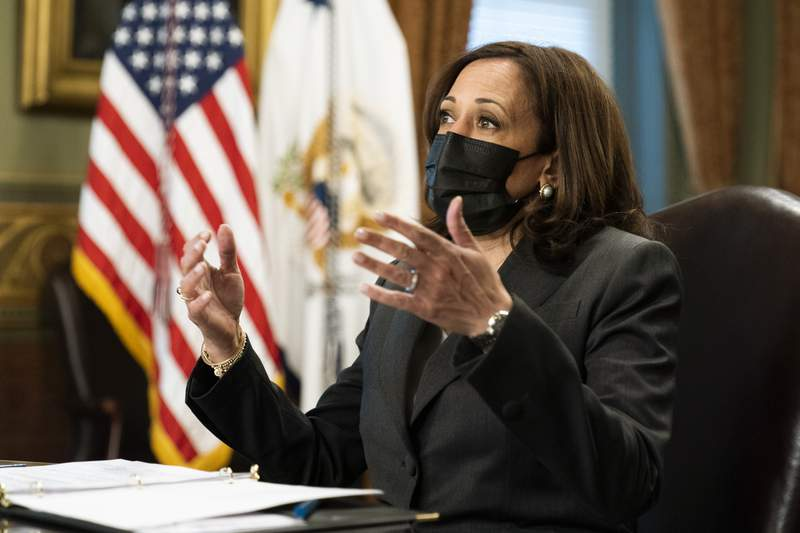 Vice President Kamala Harris speaks during a meeting with Native American community leaders about voting rights together with Secretary of the Interior Deb Haaland, in the Vice President's Ceremonial Office at the Eisenhower Executive Office Building on the White House complex, in Washington, Tuesday, July 27, 2021. (AP Photo/Manuel Balce Ceneta)
