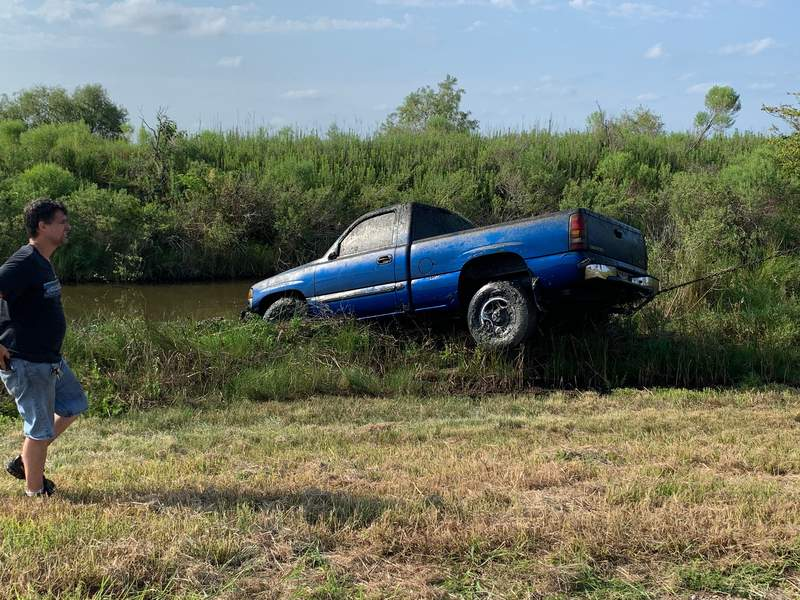 Two vehicles were found submerged in a Freeport, Texas retention pond on Aug. 6, 2020. (Image from Freeport Police Department)