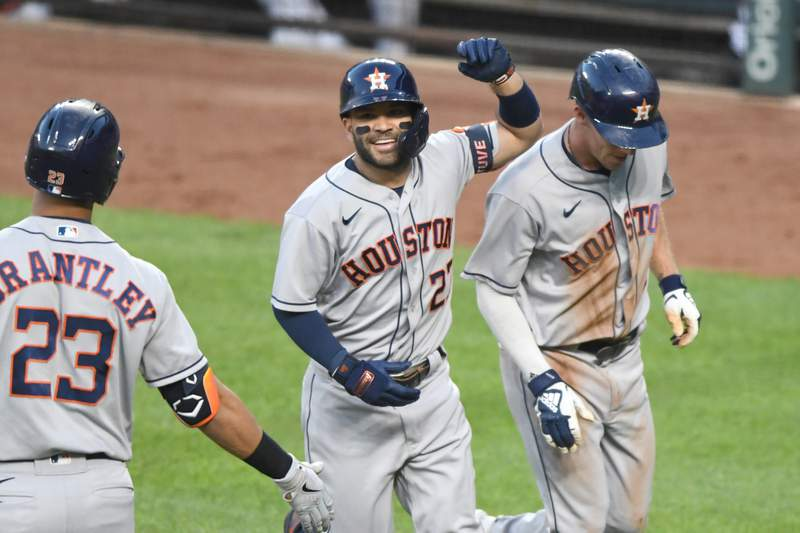 BALTIMORE, MD - JUNE 23: Jose Altuve #27 of the Houston Astros celebrates hitting a two-run home run in the fourth inning against the Baltimore Orioles at Oriole Park at Camden Yards on June 23, 2021 in Baltimore, Maryland.  (Photo by Mitchell Layton/Getty Images)