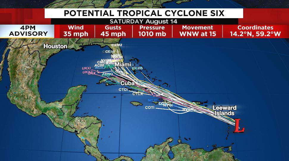 Spaghetti plots are tightly packed, indicating a high level of agreement among models on the storm's forecasted path.