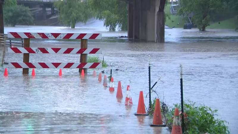 High water near Buffalo Bayou on May 19, 2021.