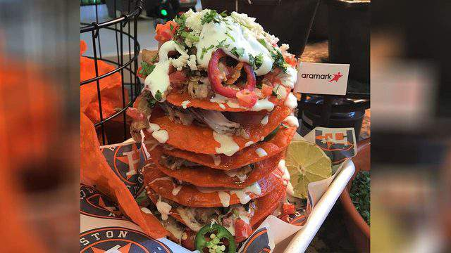 The Walk-off Nacho Stack is one of the special menu items you'll get at Minute Maid Park during the World Series.