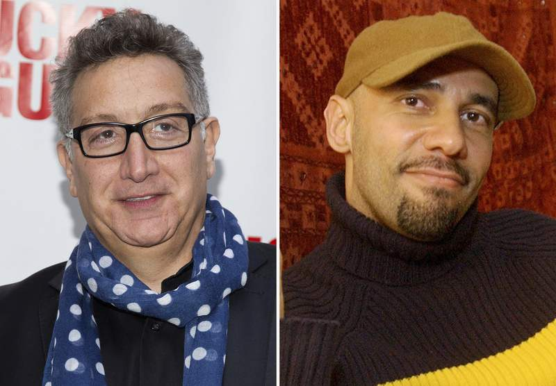 """In this combination, Moises Kaufman, left, arrives at the Lucky Guy Opening Night on April, 01, 2013 in New York and Nilo Cruz sits in his apartment on April 7, 2003, in New York. This fall, Miami New Drama plans to offer short new plays about each of the seven deadly sins in seven vacant storefronts along Lincoln Road as part of a project called """"7 Deadly Sins  Temptation in the Magic City."""" The plays will be written Hilary Bettis, Nilo Cruz, Moises Kaufman, Rogelio Martinez, Dael Orlandersmith, Carmen Pelaez and Aurin Squire. (AP Photo)"""