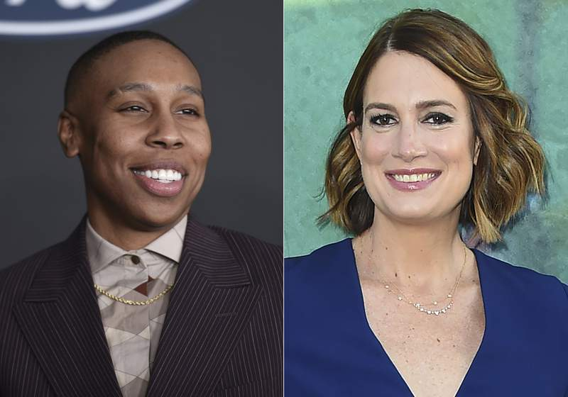 """Lena Waithe appears at the 51st NAACP Image Awards in Pasadena, Calif., on Feb. 22, 2020, left, and Gillian Flynn appears at the Los Angeles premiere of """"Sharp Objects"""" on June 26, 2018. Waithe and Flynn will each run imprints at Zando, a new house headed by Molly Stern. (AP Photo)"""