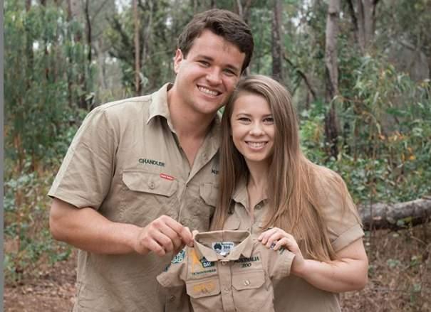 Bindi Irwin, right, and husband Chandler Powell