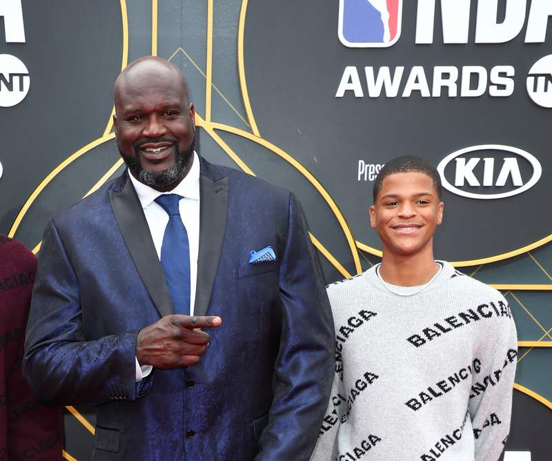 SANTA MONICA, CALIFORNIA - JUNE 24: (L-R) Shaquille O'Neal and Shaqir O'Neal attend the 2019 NBA Awards presented by Kia on TNT at Barker Hangar on June 24, 2019 in Santa Monica, California. (Photo by Joe Scarnici/Getty Images for Turner Sports)
