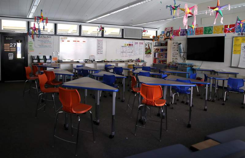 With just a few months to plan for a school year that will look very different from any before, education leaders are pleading for billions more in federal aid for K-12 schools because of the coronavirus pandemic. A classroom sits empty on April 01, 2020 in Kentfield, California.