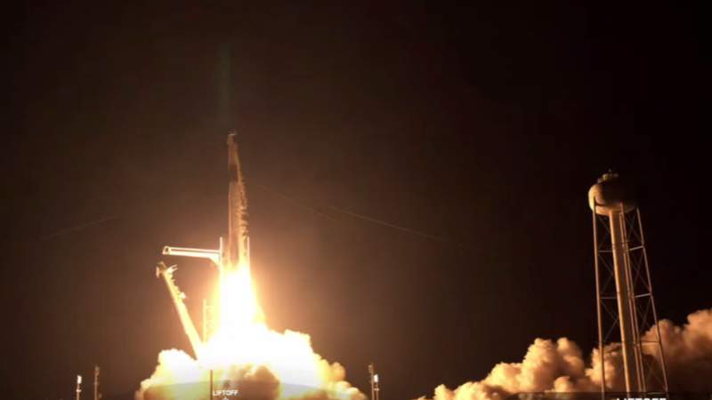 Photo from SpaceX rocket launch on Sept. 15, 2021.