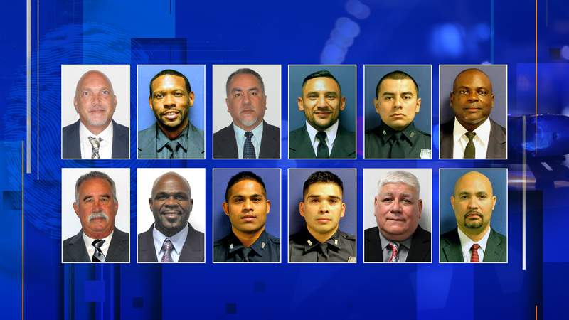 Duty photos for the 12 current and former Houston police officers charged as part of an investigation into the Harding Street raid are seen in this graphic created Jan. 25, 2021.