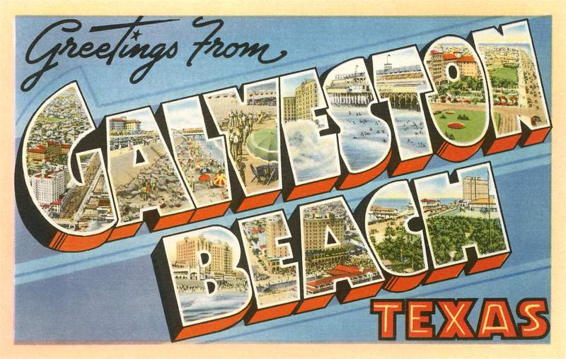'Greetings from Galveston Beach, Texas' large letter vintage postcard, 1950s.  (Photo by Found Image Holdings/Corbis via Getty Images)